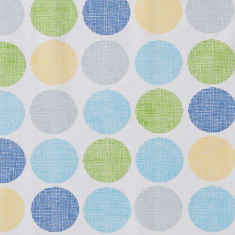 Baumwolle Popeline Punkte blau grau gelb auf weiß