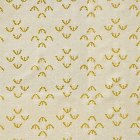 Baumwolle Popeline Pusteblume Löwenzahn senfgelb weiß auf beige natur