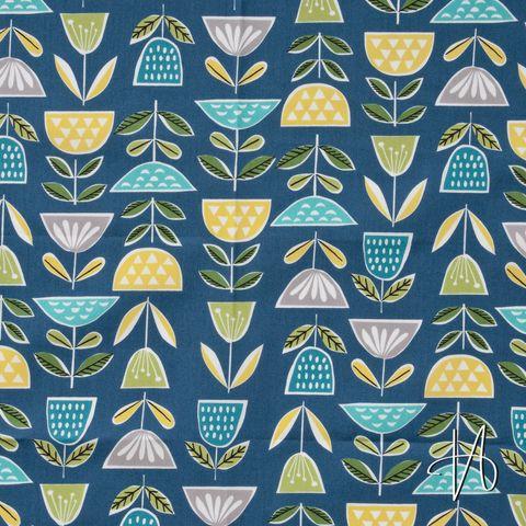 Bio Baumwolle GOTS Popeline Blumen gelb, türkis und grün auf blau