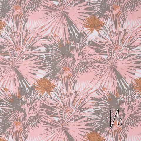 Baumwolle Voile Palmen Blätter rosa auf weiß
