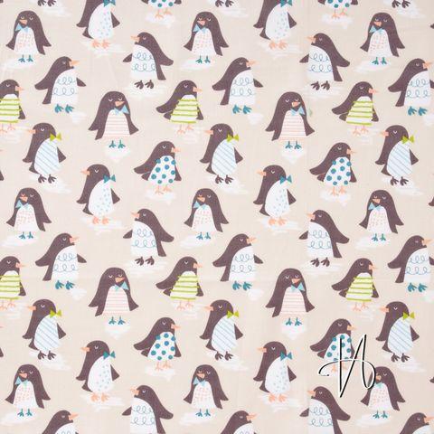 Baumwolle Popeline Pinguine braun auf beige