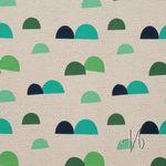 Baumwolle Leinen Canvas Berge Hügel blau grün auf beige natur  001