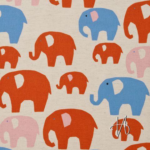 Baumwolle Canvas Elefanten rosa rot auf beige natur 0,5m