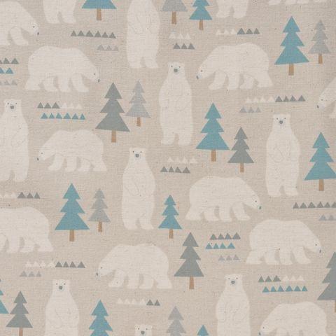 Baumwolle Leinen Flanell Eisbären creme weiß auf grau