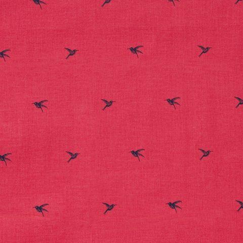 Baumwolle Popeline Vögel Kolibris dunkelblau auf rot