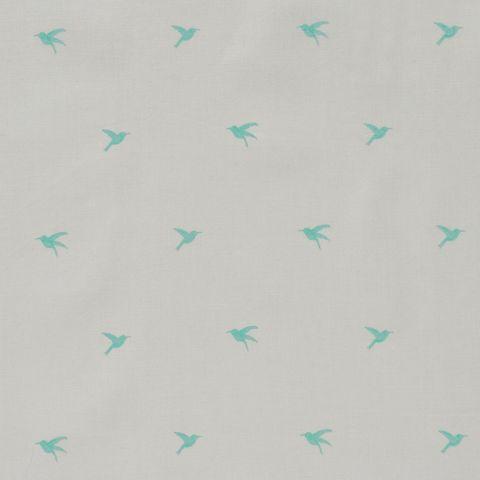 Baumwolle Popeline Vögel Kolibris türkis auf hellgrau