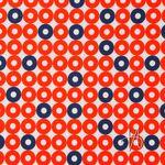 Baumwolle Popeline Retromuster Punkte Kreise rot dunkelblau weiß  001