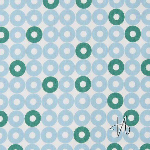 Baumwolle Popeline Retromuster Punkte Kreise hellblau grün weiß