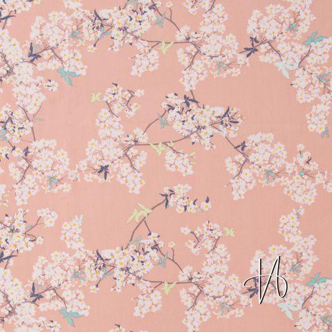 Baumwolle Popeline Kirschblüten weiß auf rosa