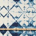 Baumwolle Voile Batik dunkelblau türkis auf creme  001