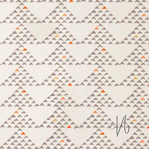 Baumwolle Popeline Dreiecke taupe orange auf creme