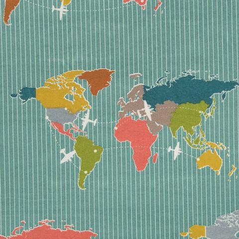 Bio Baumwolle Popeline GOTS Weltkarte blau 0,5m