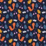 Popeline Bio Baumwolle GOTS Eichhörnchen orange auf dunkelblau  001