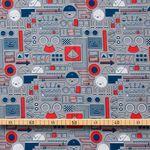 Bio Baumwolle GOTS Popeline Roboter rot blau grau 0,5m 001