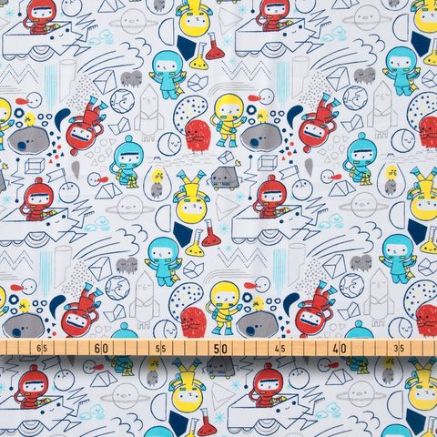 Bio Baumwolle GOTS Popeline Astronauten Raumfahrer rot, blau, gelb auf weiß