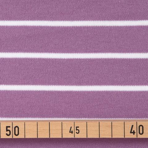 Bio Baumwolle Jersey GOTS Streifen weiß lila