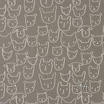 Baumwolle Popeline Hunde und Katzen auf taupe  001