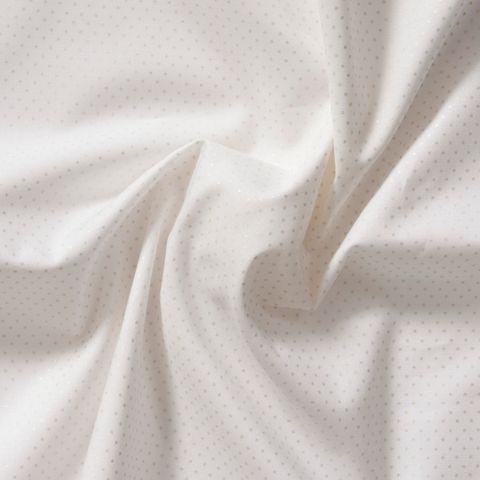 Baumwolle Popeline feine silberne Punkte auf weiß