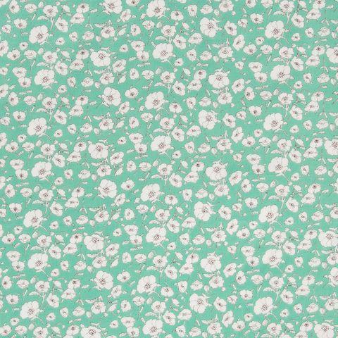 Baumwolle Batist kleine filigrane Blumen auf türkis
