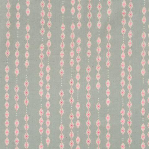 Baumwolle Popeline grafisches Tropfen Muster in natur auf grau mit neon pinken Akzenten