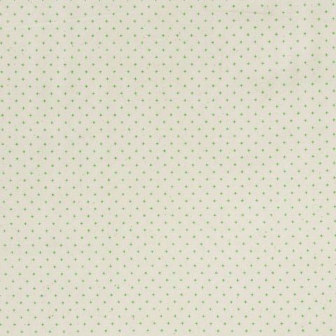 Baumwolle Popeline kleine grüne Kreuze auf natur