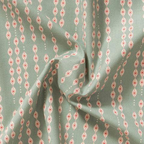 Baumwolle Popeline grafisches Tropfen Muster in natur auf mint grün mit roten Akzenten