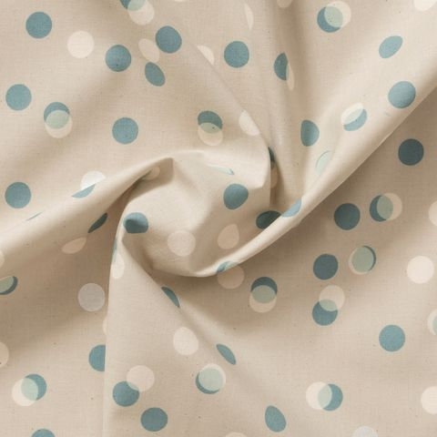 Baumwolle Popeline blaue, weiße und silberne Punkte auf hellgrau