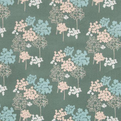 Baumwolle Popeline Blumenmuster in pastellfarben auf grün