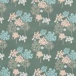 Baumwolle Popeline Blumenmuster in pastellfarben auf grün  001