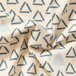 Baumwolle Canvas Dobby Dreiecke blau rosa auf creme weißem Grund  001