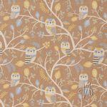 Baumwolle Canvas bedruckt mit Eulen in Bäumen auf braun  001