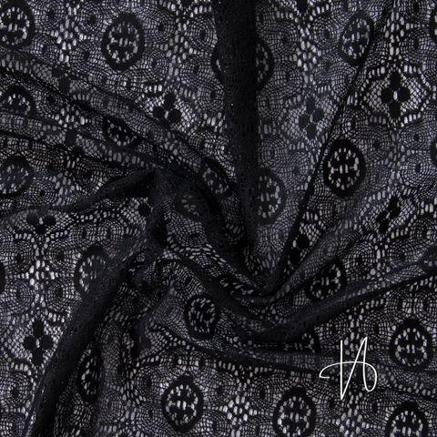 Baumwolle Nylon Spitze Blumen geometrisch schwarz