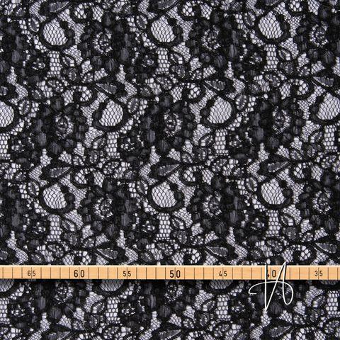 Baumwolle Viskose Spitze floral schwarz