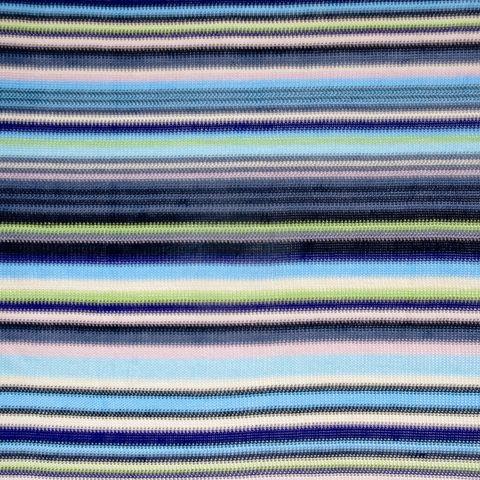 Viscose Strickstoff mit Streifen in blau, lila und grün