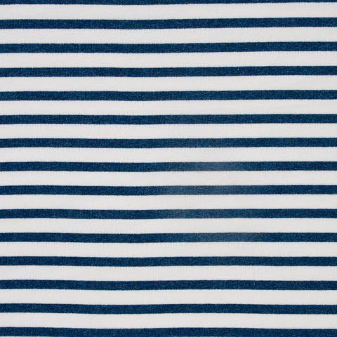 Baumwolle Rib Jersey Streifen in blau und weiß