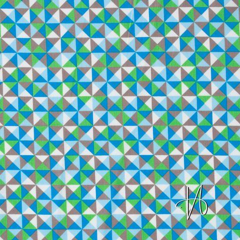 Feine Baumwolle, Popeline Dreiecke in blau und grün