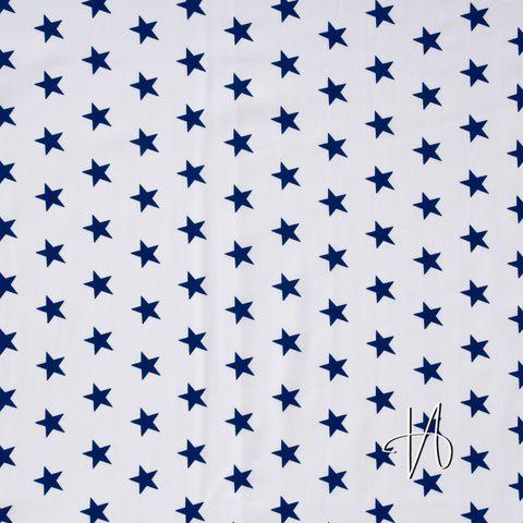 Baumwolle Popeline dunkelblaue Sterne auf weiß