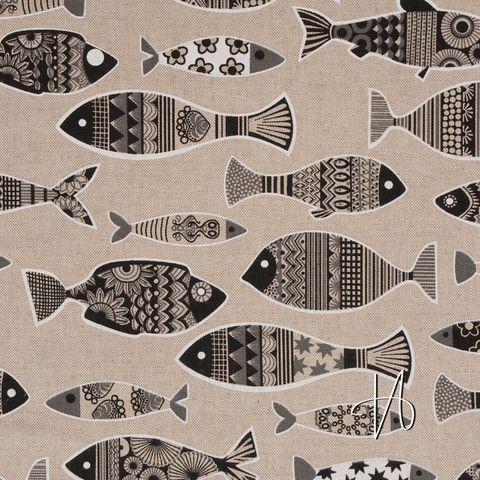 Baumwoll Canvas schwarze Fische auf natur