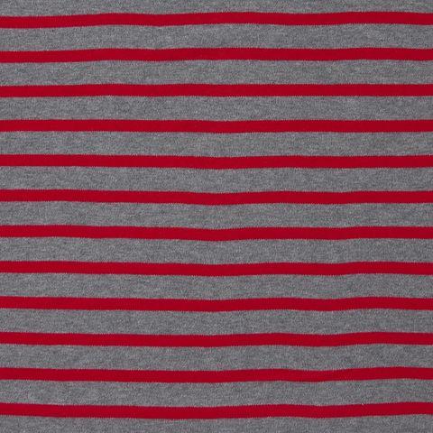 Bio Baumwolle Jersey (GOTS) gestreift in rot und grau