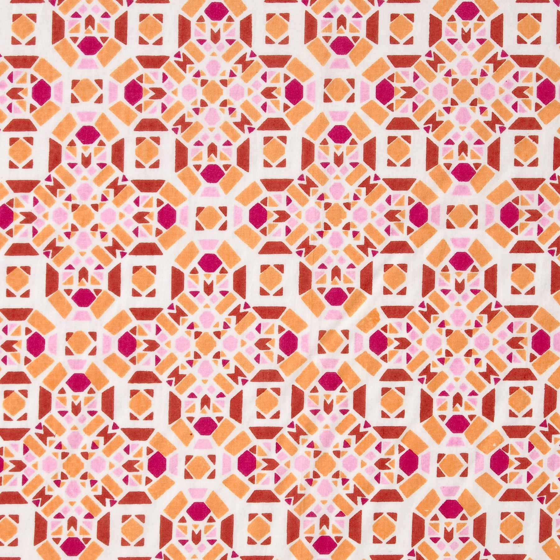 Bio Baumwolle GOTS Batist mit grafischem Muster in orange