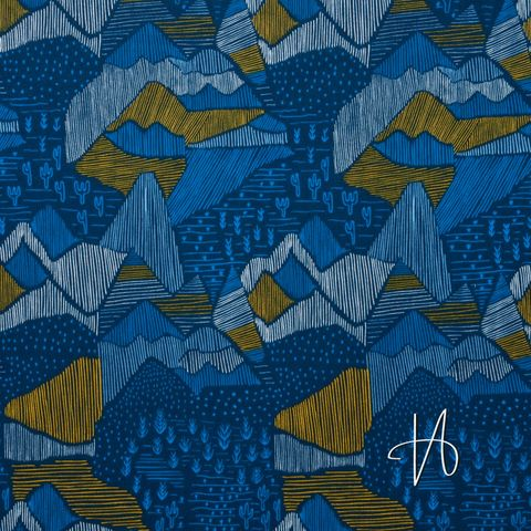 Bio Baumwolle Popeline GOTS Berge auf dunkelblau 0,5m