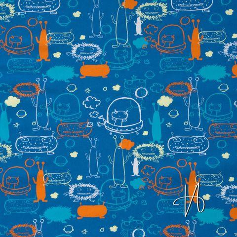 Bio Baumwolle Popeline GOTS Aliens auf blau