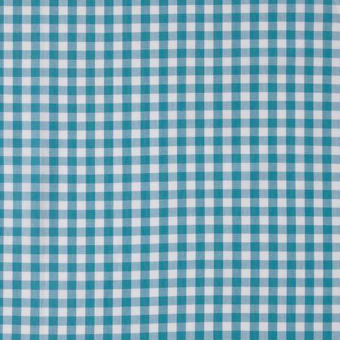 Bio Baumwolle Popeline GOTS Vichykaro weiß blau 0,5m