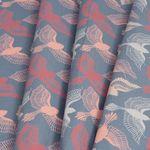 Bio Baumwolle Popeline GOTS rosa Vögel auf grau  001