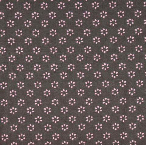 Bio Baumwolle Popeline GOTS Blumen rosa auf grau 0,5m