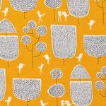 Feine Bio Baumwolle GOTS Bäume und Vögel auf gelb  001