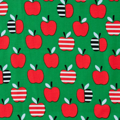 Feiner Cord Bio Baumwolle GOTS Äpfel rot auf grün