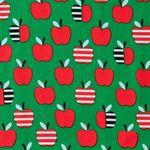 Feiner Cord Bio Baumwolle GOTS Äpfel rot auf grün  001