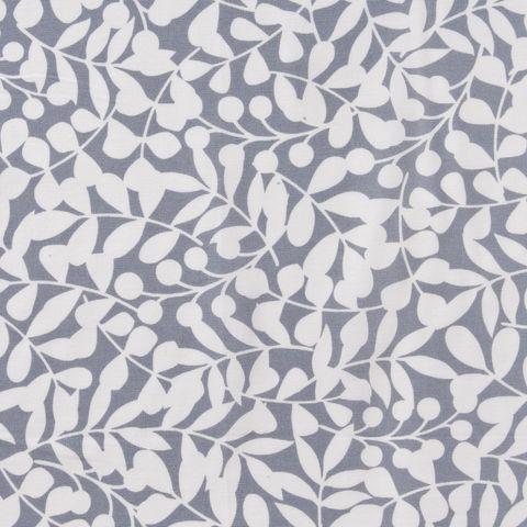 Bio Baumwolle Canvas GOTS weiße Ranken auf grau 0,5m
