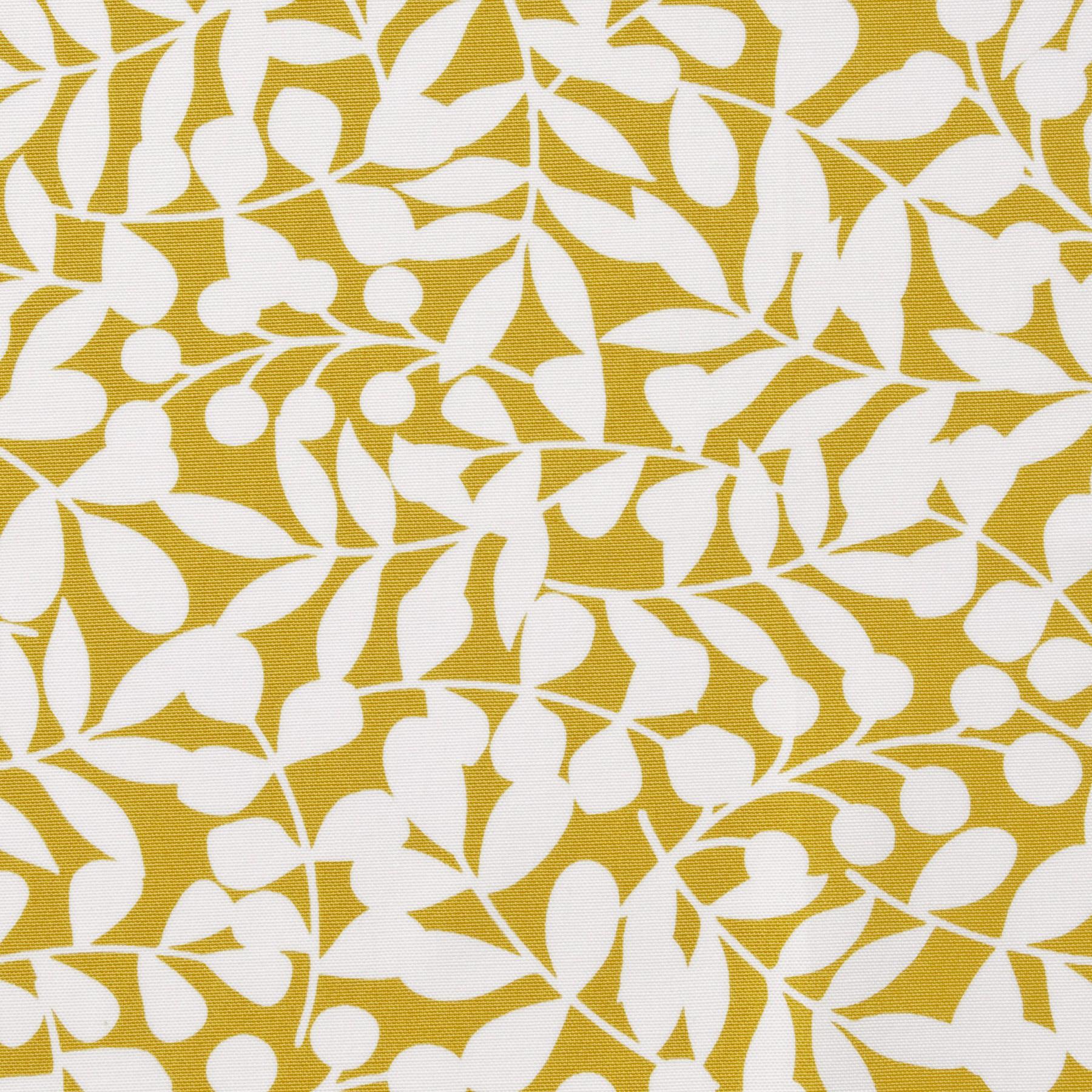 Bio Baumwolle Canvas weiße Zweige auf gelb